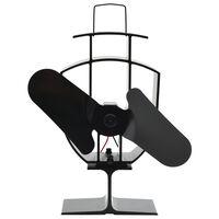 vidaXL Teplom poháňaný ventilátor na krb s 2 lopatkami čierny