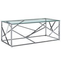 vidaXL Konferenčný stolík priehľadný 120x60x40 cm tvrdené sklo a nehrdzavejúca oceľ