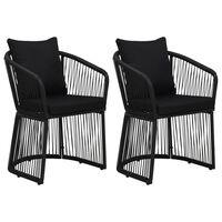 vidaXL Záhradné stoličky s podložkami a vankúšmi 2 ks PVC ratan čierne