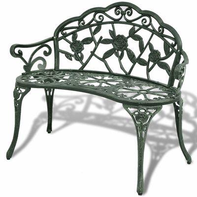 vidaXL Záhradná lavička 100 cm, odlievaný hliník, zelená