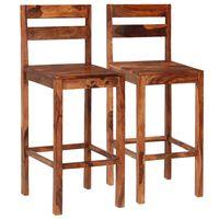 vidaXL Barové stoličky 2 ks hnedé masívne sheeshamové drevo