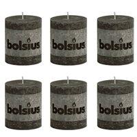 Bolsius Rustikálna valcová sviečka 80x68 mm, antracitová 6 ks
