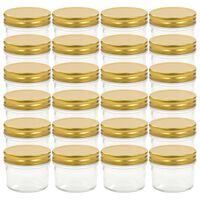 vidaXL Sklenené zaváracie poháre so zlatými viečkami 24 ks 110 ml