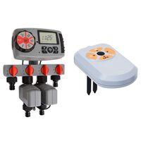 vidaXL Automatický časovač zavlažovania so 4 stanicami a senzorom vlhkosti 3 V