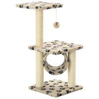 vidaXL Škrabadlo pre mačky, sisalové stĺpiky 65 cm, béžové s labkami