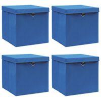 vidaXL Úložné boxy s vrchnákmi 4 ks modré 32x32x32 cm látkové