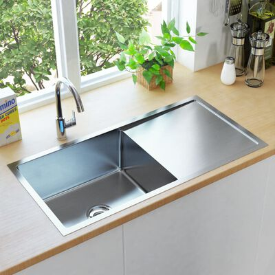 vidaXL Ručne vyrobený kuchynský drez so sitkom nehrdzavejúca oceľ