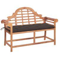vidaXL Záhradná lavička so sivohnedou podložkou 120 cm teakový masív
