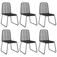 vidaXL Vonkajšie jedálenské stoličky 6 ks polyratan čierne