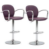 vidaXL Barové stoličky s opierkami 2 ks, fialové, umelá koža
