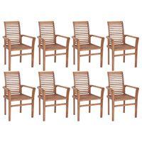 vidaXL Sthovateľné jedálenské stoličky 8 ks tíkový masív