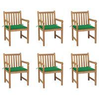 vidaXL Záhradné stoličky 6 ks so zelenými podložkami tíkový masív