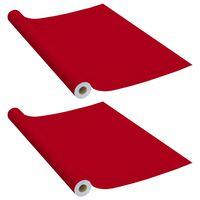 vidaXL Samolepiace tapety na nábytok 2 ks, červené 500x90 cm, PVC