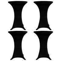 vidaXL Obrusy na stojaci stôl 4 ks čierne Ø60 cm naťahovacie