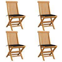 vidaXL Záhradné stoličky, čierne podložky 4 ks, tíkový masív