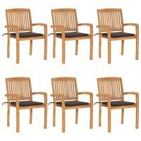 vidaXL Stohovateľné záhradné stoličky s podložkami 6 ks tíkový masív