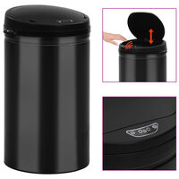 vidaXL Automatický odpadkový kôš, senzor 40 l, uhlíková oceľ, čierny