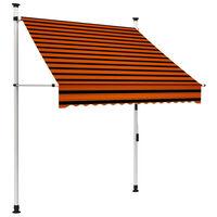 vidaXL Ručne zaťahovacia markíza 150 cm oranžová a hnedá