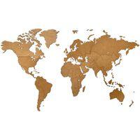 MiMi Innovations Drevená nástenná mapa sveta Luxury, hnedá 130x78 cm