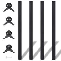 Výškovo nastaviteľné stolové nohy, 4ks, čierne, 1100 mm