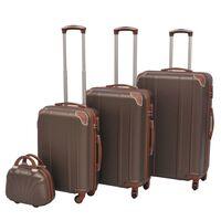 vidaXL Sada 4 cestovných kufrov z tvrdým krytom, kávová