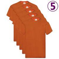 Fruit of the Loom Originálne tričká 5 ks oranžové L bavlnené