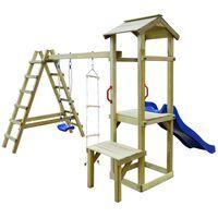 vidaXL Detské ihrisko+šmýkačka, rebrík, hojdačka 286x228x218 cm, drevo