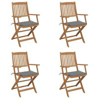 vidaXL Skladacie záhradné stoličky s podložkami 4 ks akáciový masív