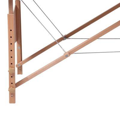 Krémovo biely skladací masážny stôl s 2 zónami a dreveným rámom