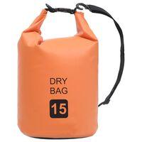 vidaXL Suchá taška oranžová 15 l PVC