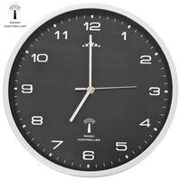 vidaXL Rádiom ovládané nástenné hodiny s pohonom Quartz čierne 31 cm