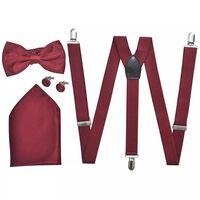 Sada pánskych doplnkov do obleku/smokingu, traky & motýlik, vínová (burgundy)