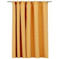 vidaXL Zatemňovací záves, ľanový vzhľad, háčiky, žltý 290x245 cm