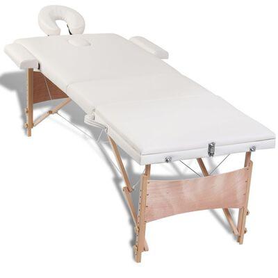 Krémovo biely skladací masážny stôl s 3 zónami a dreveným rámom
