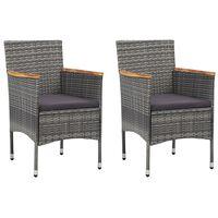 vidaXL Záhradné jedálenské stoličky 2 ks sivé polyratanové