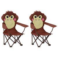 vidaXL Detské záhradné stoličky 2 ks hnedé látkové