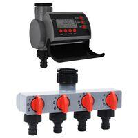 vidaXL Záhradný časovač zavlažovania s jedným výstupom a rozdeľovačom vody