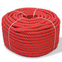 vidaXL Lodné lano, polypropylén, 8 mm, 100 m, červené