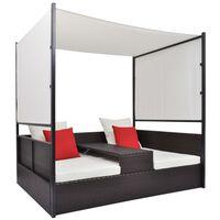 vidaXL Záhradná posteľ so strieškou hnedá 190x130 cm polyratanová