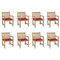 vidaXL Záhradné stoličky 8 ks s červenými podložkami tíkový masív