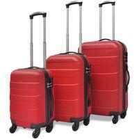 Sada troch červených cestovných kufrov na kolieskach vidaXL