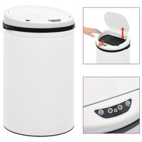 vidaXL Automatický odpadkový kôš, senzor 30 l, uhlíková oceľ, biely
