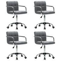 vidaXL Otočné jedálenské stoličky 4 ks, svetlosivé, látka