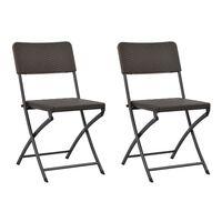 vidaXL Skladacie záhradné stoličky 2 ks, HDPE a oceľ, hnedé