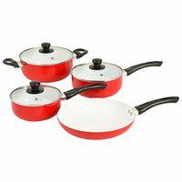 vidaXL 7-dielna sada kuchynského riadu červená hliníková