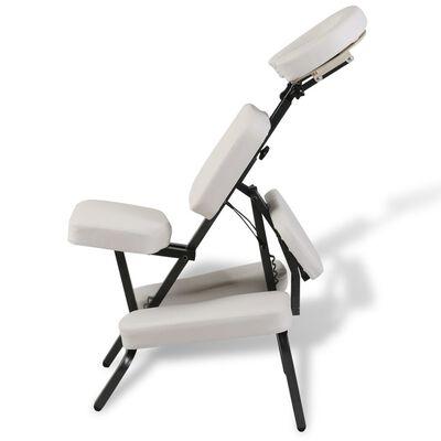 Biela skladacia a prenosná masážna stolička