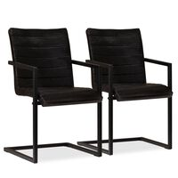 vidaXL Jedálenské stoličky 2 ks, antracitové, pravá koža