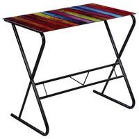 Sklenený písací stôl s dúhovou potlačou