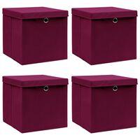 vidaXL Úložné boxy s vrchnákmi 4 ks tmavočervené 32x32x32 cm látkové