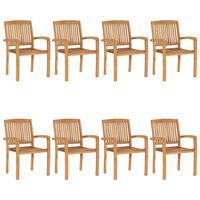 vidaXL Stohovateľné záhradné stoličky 8 ks tíkový masív